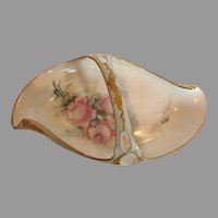 French Limoges Handled Basket Hand Painted Pink Roses Fancy Gilding c 1891 - 1914
