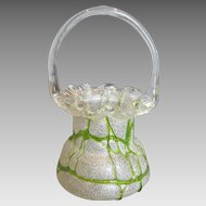 Bohemian Czech Overshot Art Glass Basket Bright Green Overlay Threads c 1880