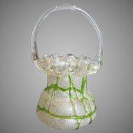 Bohemian Czech Overshot Art Glass Basket Bright Green Overlay Threads c 1880