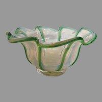 English Opalescent Art Glass Bowl w Green Edges c 1900