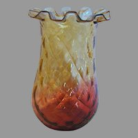 "American New England 6"" Reverse Amberina Art Glass Celery Vase Red-to-Amber Diamond Quilted Crimped Rim c 1880"