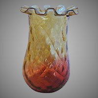 """American New England 6"""" Reverse Amberina Art Glass Celery Vase Red-to-Amber Diamond Quilted Crimped Rim c 1880"""