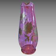 English Tall Cranberry Art Glass Pitcher Jug Raised Enameled Gold Flowers Leaves c 1885