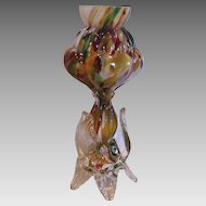 Bohemian Czech Small Spatter Glass Vase Applied Clear Feet c 1930