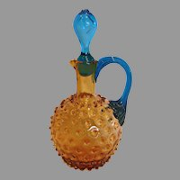 American New England Amber Hobnail Art Glass Cruet Blue Reed Handle Hollow Stopper c 1890