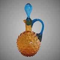 American New England Amber Hobnail Art Glass Cruet Blue Reed Handle Hollow Stopper c 1890