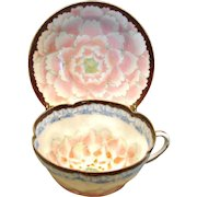 Exceptional Japanese Cup Saucer Delicate Beading and Moriage Detailed Hand Painted Decoration Early Nippon c 1880