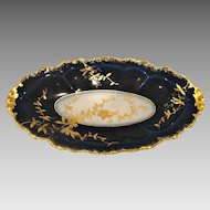 French Limoges Cobalt Blue Relish Tray Gold Overlay Foliage c 1891 – 1932