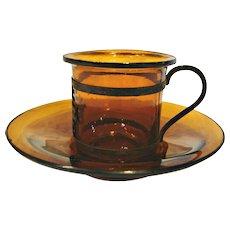 Chinese Peking Dark Amber Art Glass Tiny Cup Saucer Bronze Metal Handle Signed c 1890
