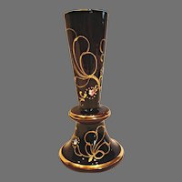 Bohemian Czech Opaque Dark Purple Amethyst Art Glass Vase c 1900