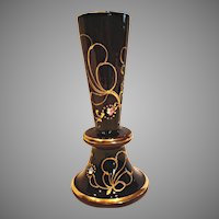 Bohemian Czech Opaque Dark Purple Amethyst Art Glass Vase c 1900