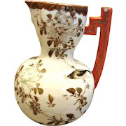 Japanese Early Nippon Jug or Pitcher Hand Painted Quail Bird Butterfly Flowers c 1870 or Earlier