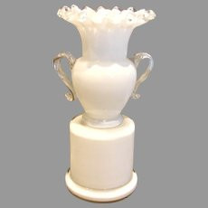 Bohemian Czech Kralik Small Unusual White and Clear Art Glass Vase Applied Handles Toothbrush Holder Signed c 1930