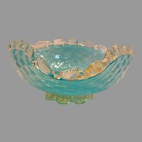 Bohemian Czech Blue Art Glass Footed Bowl Pressed Diamond Quilted c 1910
