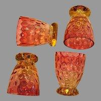 Bohemian Czech Set 4 Amberina Art Glass Whiskey Cordial Shot Thumbprint Amber to Cranberry c 1890
