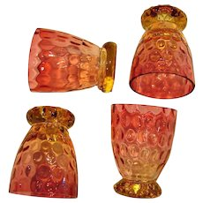 Bohemian Czech Set 4 Amberina Art Glass Whiskey Cordial Shot Thumbprint Amber to Cranberry c 1890