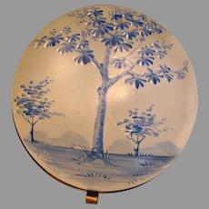Bohemian Czech Hinged Art Glass Box Blue Enameled Tree Scene c 1880