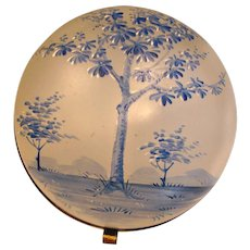 Bohemian Hinged Art Glass Box Blue Enameled Tree Scene c 1880