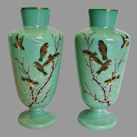 "Bohemian Czech Harrach Pair Green Opaline Art Glass Vases 12.5"" Hand Enameled Birds c 1870"