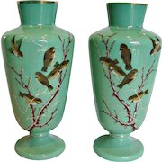 "Bohemian Czech Pair Green Opaline Art Glass Vases 12.5"" Hand Enameled Birds c 1870"