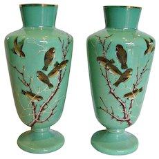 """Bohemian Czech Harrach Pair Green Opaline Art Glass Vases 12.5"""" Hand Enameled Birds c 1870"""