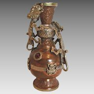 """Chinese Hammered 6"""" Copper Vase w Two Metal Clinging Dragons Red Glass Stones c 1900"""