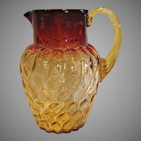 """American New England Amberina Art Glass Pitcher 9 ¼"""" Spiral  Lobes with Thumbprints Amber to Deep Fuchsia Red c 1885"""