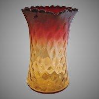 "American New England Amberina Art Glass Celery Vase 6"" Diamond Quilted Narrow Panels Amber-to-Fuchsia Red c 1880"