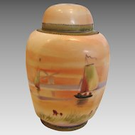 Japanese Nippon Tea Caddy Jar Hand Painted Sunset Sailing Ships c 1891