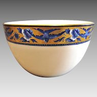 English Staffordshire Foley Shelley Potteries Blue Swallow Tea Bowl Birds Roses Gold c 1892 - 1925