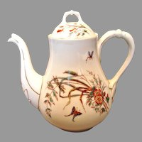 French Limoges Large Teapot or Coffee Pot Butterflies Dragonflies c 1860 - 1870