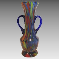 Bohemian Czech Blue Art Glass Vase w Multiple Colors Handles c 1930