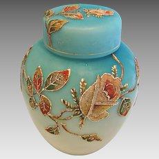 English Satin Shaded Blue Art Glass Cased Tea Caddy Lidded Jar Coralene Beaded Roses c 1890