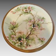 German Bavarian Tea Trivet Hand Painted Pink Dogwood Blossoms Artist Signed c 1910