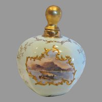 English Coalport Staffordshire 6-Sided Perfume Bottle Pale Green Miniature Landscape Hand Painted Scenes Raised Gold c 1891 - 1901