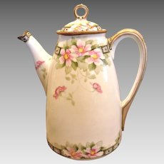 Japanese Nippon Teapot Hand Painted Pink Dogwood Blossoms Delicate Beading and Moriage c 1891
