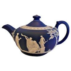 English Wedgwood Jasperware Matte Cobalt Blue Demitasse Teapot Classic Greek Mythology Figures c 1891 - 1908