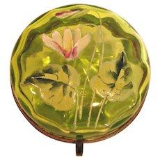 Bohemian Czech Small Green Paneled Art Glass Box Hand Enameled Lily Flower Leaves c 1890