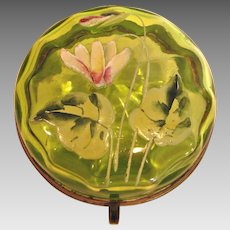 Bohemian Czech Small Green Paneled Art Glass Box Hand Enameled Lily Flower Leaves c 1890