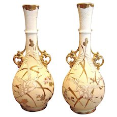 """Japanese Satsuma Gorgeous Pair 12"""" Vases Flying Cranes Birds Fine Beading Embellished Enameling Meiji Period Signed Exquisite"""