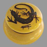French Grosclaude Cameo Yellow Art Deco Glass Box w Mottled Gecko Lizard on Lid Signed Nancea c 1922