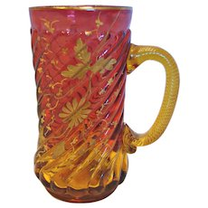 American Locke New England Amberina Art Glass Tumbler Mug w Handle Pale Amber to Deep Cranberry Ruby Red Spiral Lobes Gold Painted Leaves Flowers c 1885