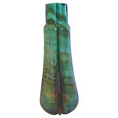 Bohemian Czech Green Swirl Marbled Stone Art Glass Vase Cased Iridescent c 1885