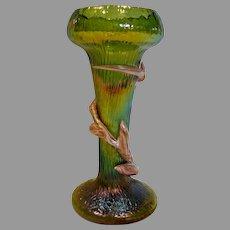 Bohemian Czech Kralik Green Art Glass Vase w Peppermint Candy Cane Winding c 1900