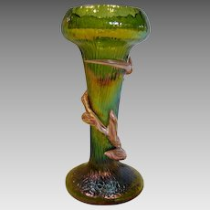 Bohemian Czech Kralik Green Art Glass Vase w Peppermint Candy Cane Winding c 1900