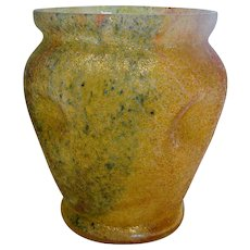 Bohemian Czech Art Glass Vase Glue Chip or Overshot Multiple Colors c 1930