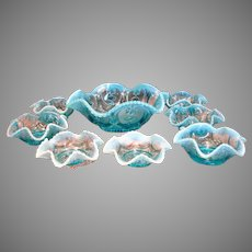 American Northwood Opalescent Blue Glass Berry Set Master Bowl & 7 Small Bowls Beaded c 1903