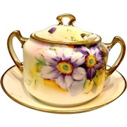 Japanese Nippon Hand Painted Violets Mustard Condiment Jar Pot Attached Underplate & Porcelain Spoon c 1910