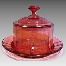Bohemian Czech Cranberry Pale Ruby Art Glass Cheese Keeper Dish Paneled Beveled Dome & Plate c 1880
