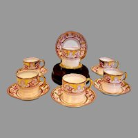 English Staffordshire New Chelsea Porcelain Set 6 Tiny Espresso Demitasse Cups & Saucers Gold & Pink w Leaves & Old Man Winter Faces c 1913 - 1936